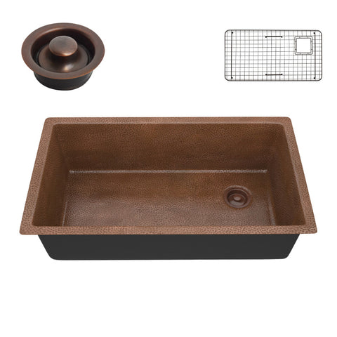 Byzantine Drop-in Handmade Copper 31 in. 0-Hole Single Bowl Kitchen Sink in Hammered Antique Copper