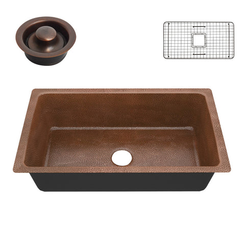 Gilbert Drop-in Handmade Copper 31 in. 0-Hole Single Bowl Kitchen Sink in Hammered Antique Copper