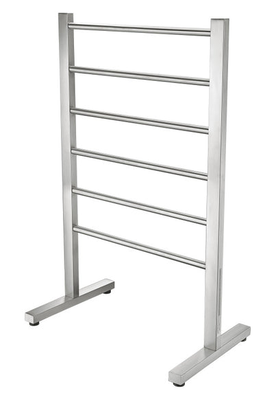 Riposte Series 6-Bar Stainless Steel Floor Mounted Electric Towel Warmer Rack-Brushed Nickel