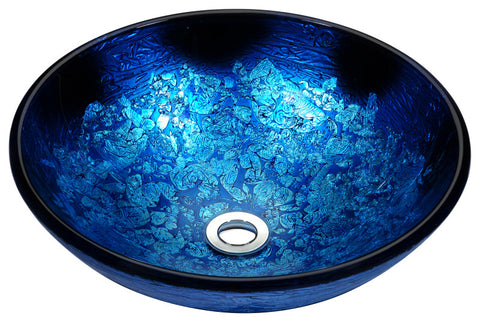 Tara Series Deco-Glass Vessel Sink in Blue Blaze