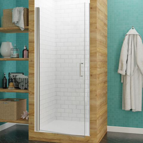 Lancer 23 in. x 72 in. Semi-Frameless Shower Door with TSUNAMI GUARD in Brushed Nickel