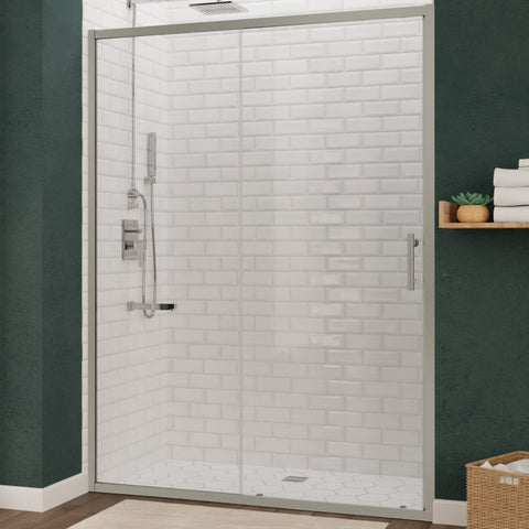 Halberd 48 in. x 72 in. Framed Shower Door with TSUNAMI GUARD in Brushed Nickel