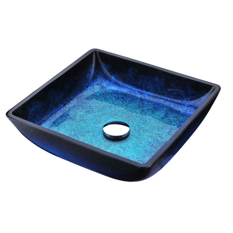 Viace Series Deco-Glass Vessel Sink in Blazing Blue