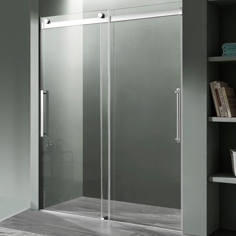 Stellar Series 48 in. x 76 in. Frameless Sliding Shower Door with Handle in Chrome