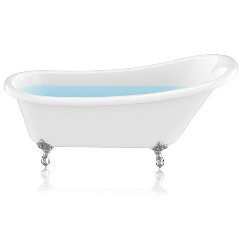 "67.32"" Diamante Slipper-Style Acrylic Claw Foot Tub in White"