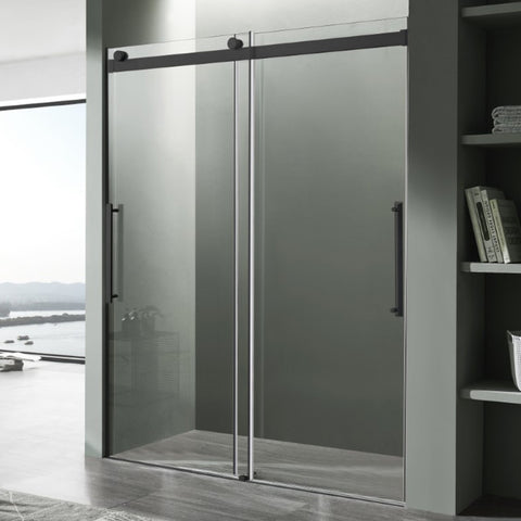 Stellar Series 48 in. x 76 in. Frameless Sliding Shower Door with Handle in Matte Black