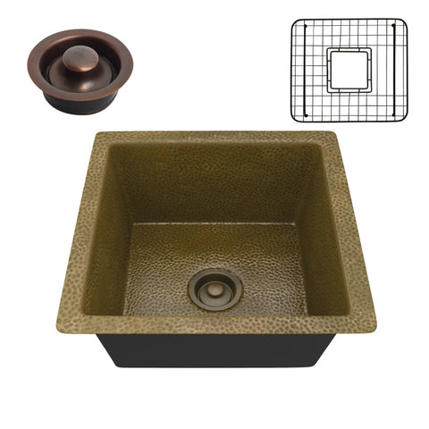 Erzurum Drop-in Handmade Copper 16 in. 0-Hole Single Bowl Kitchen Sink in Hammered Antique Copper
