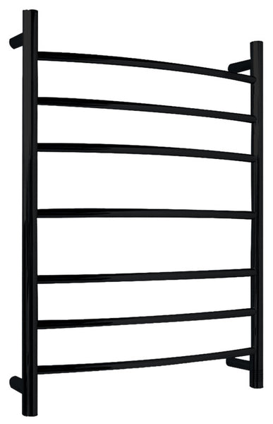 Gown 7-Bar Stainless Steel Wall Mounted Towel Warmer in Matte Black
