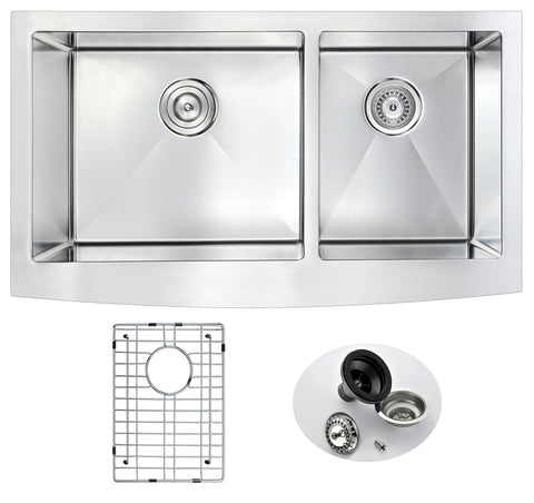 Elysian Farmhouse Stainless Steel 36 in. 0-Hole 60/40 Double Bowl Kitchen Sink in Brushed Satin