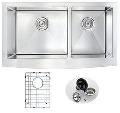 Elysian Series Farmhouse Stainless Steel 36 in. 0-Hole Double Bowl Kitchen Sink