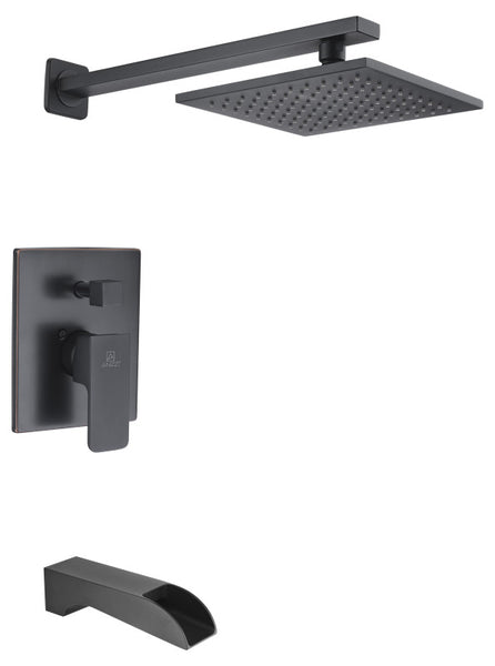 Mezzo Series 1-Handle 1-Spray Tub and Shower Faucet in Matte Black