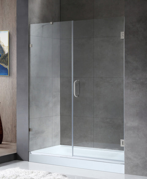 Makata Series 58.5 in. by 72 in. Frameless Hinged Alcove Shower Door in Brushed Nickel with Handle