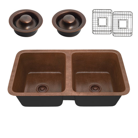 Eastern Drop-in Handmade Copper 32 in. 0-Hole 50/50 Double Bowl Kitchen Sink in Hammered Antique Copper
