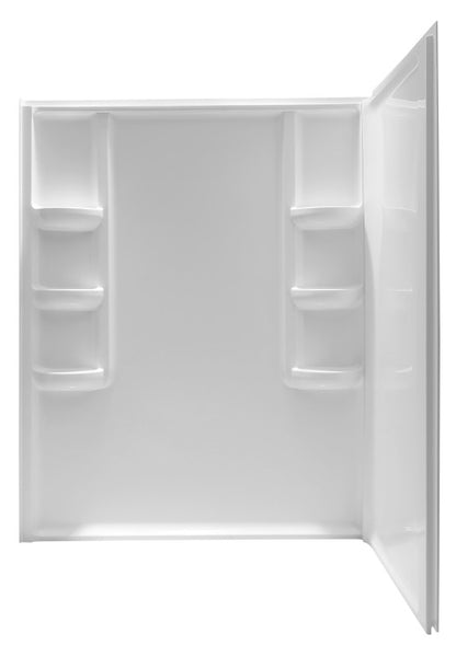 Vasu 60 in. x 36 in. x 74 in. 2-piece DIY Friendly Corner Shower Surround in White