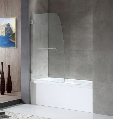 Vensea Series 34 in. by 58 in. Frameless Hinged Tub Door in Brushed Nickel