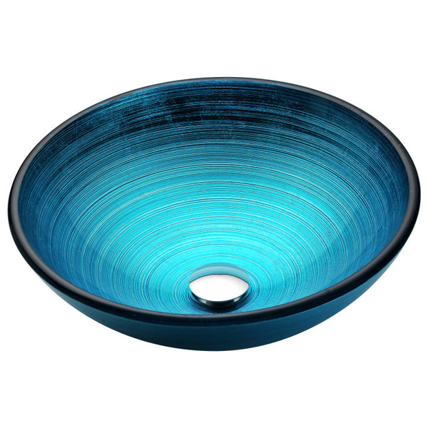 Enti Series Deco-Glass Vessel Sink in Lustrous Blue