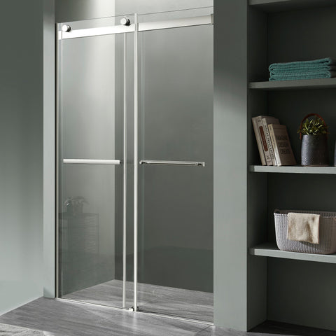 Kahn Series 60 in. x 76 in. Frameless Sliding Shower Door with Horizontal Handle in Chrome
