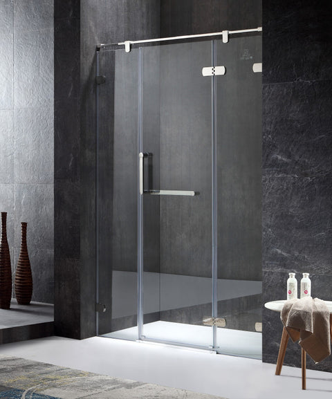 Emperor Series Right Side 55.11 in. x 78.74 in. Semi-Frameless Hinged Shower Door in Chrome with Handle