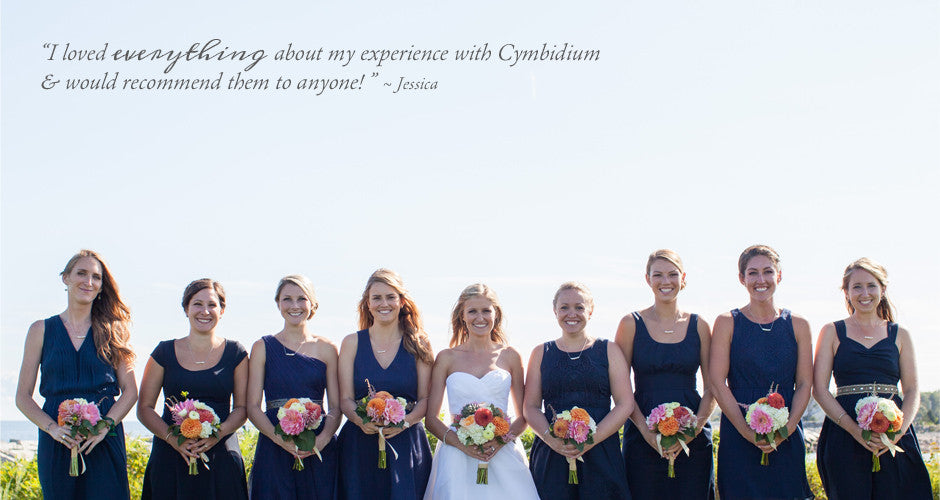 Bridal party holding bouquets and testimonial