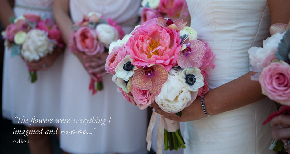Bride and bridesmaid's bouquets with testimonial