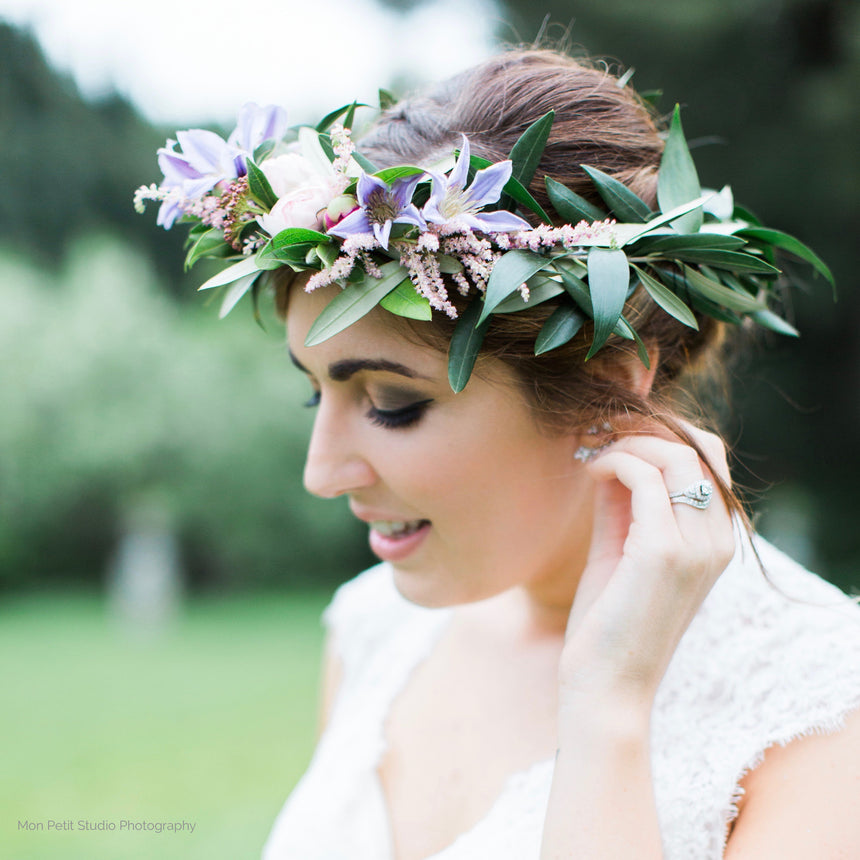 Bride wearing flower crown.