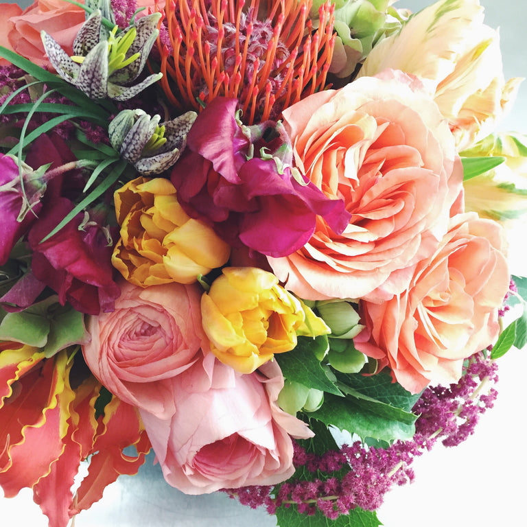 Bold and bright low arrangement using roses, protea, and helleborus.