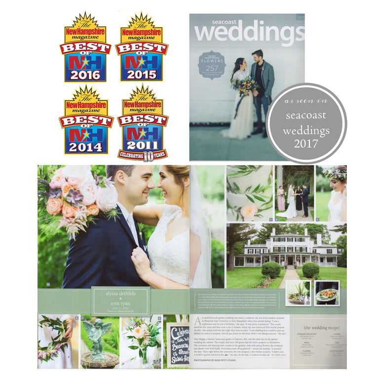Best of NH awards and feature in Seacoast Weddings Magazine.
