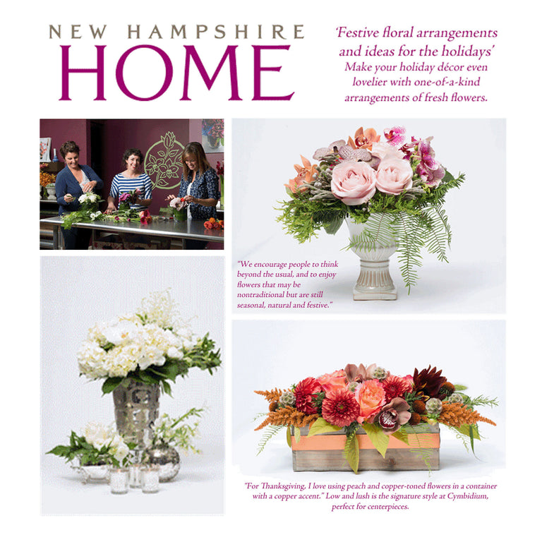 featured article about cymbidium floral in NH Home Magazine.