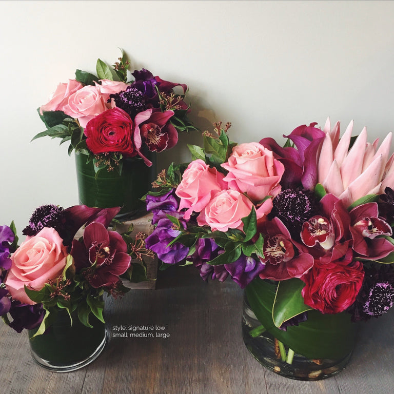 Low small, medium, and large arrangements available for delivery.