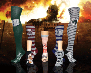 Selection of Attack on Titan anime socks for women with fiery background