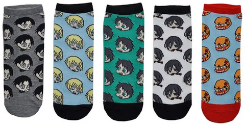 Attack on Titan Chibi 5 Pair Pack of Lowcut Socks