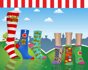 Landscape of brightly colored Candy Crush socks for women with cartoon background