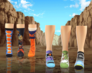 Ankle and crew Dragon Ball Z Super socks for women with canyon battleground background
