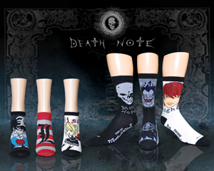 Spooky image of Death Note anime socks for women with menacing background