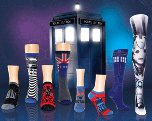 Array of Doctor Who BBC socks for women with robots, union jacks, and the Tardis police call box