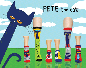 Cute Pete the Cat socks with a field and sky background with Pete peeking out