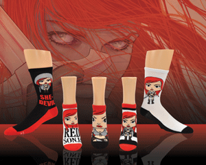 Selection of cool Red Sonja socks for women with background of Red Sonja and her sword