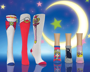 Sailor Moon anime socks in front of crescent moon at night with stars