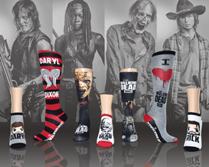 Walking Dead AMC cool socks for women in front pictures of Norman Reedus, Danai Gurira, a zombie, and Chandler Riggs