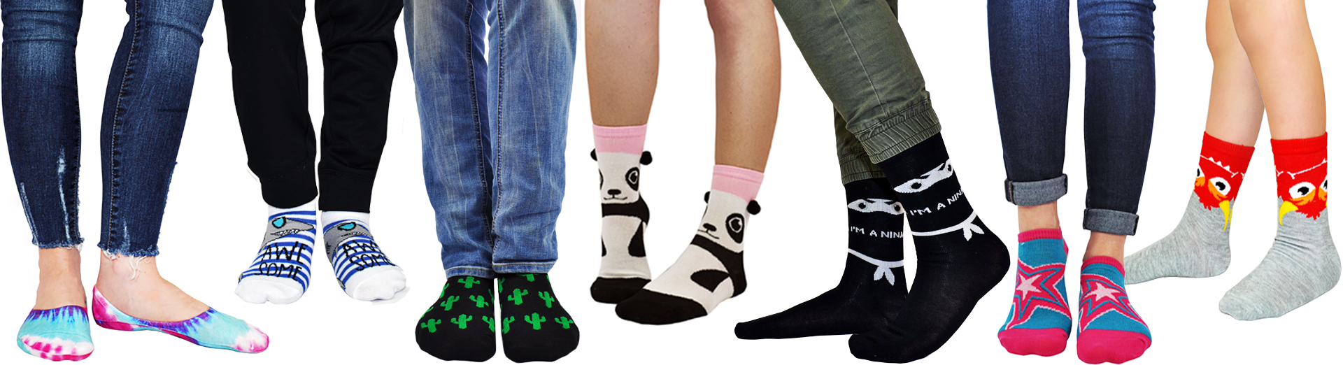 A group of different people wearing awesome socks against a white background