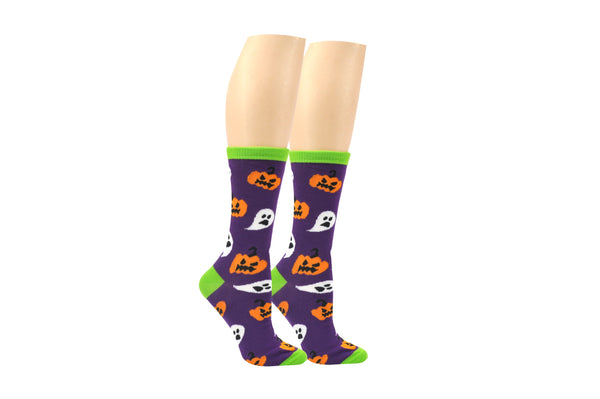 Everything Legwear Halloween Pumpkins & Ghosts Crew Sock