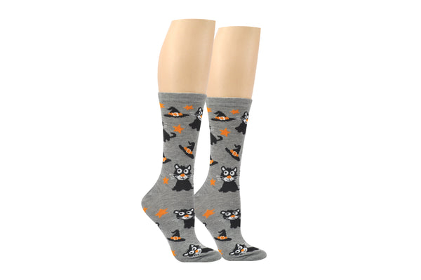 Everything Legwear Halloween Cat with a Hat Crew Sock