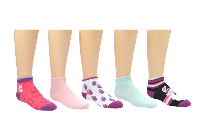 Sock House Co. Girls Llama Shortie Lowcut 5 Pair Pack Socks