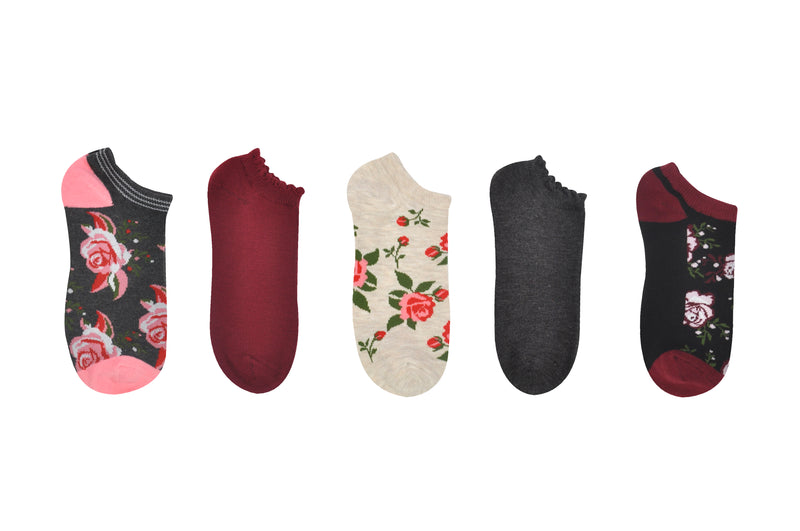 Sock House Co. Women's Floral Ruffle Cuff 5 Pair Pack Lowcut Socks