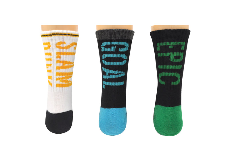 Sock House Co. Boys Sports 3 Pair Pack Athletic Crew Socks