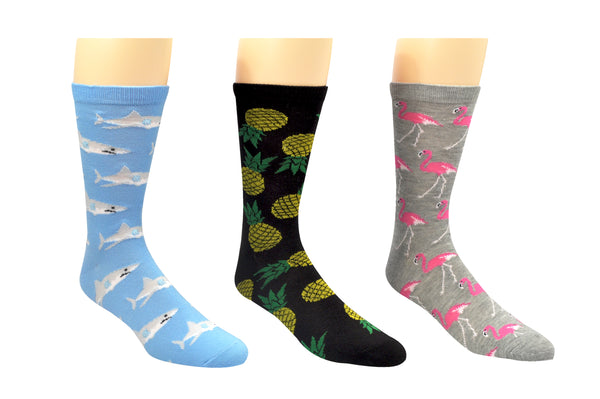 SOCK HOUSE CO. Mens Beach 3 Pair Pack Crew Socks