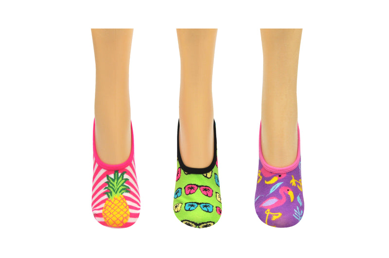 SOCK HOUSE CO. Ladies Tropical 3 Pair Pack No Show Socks