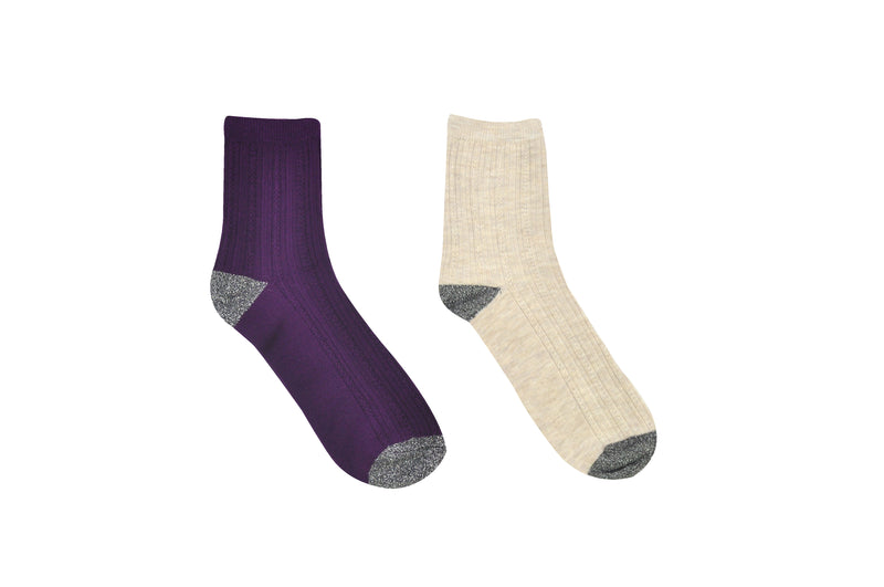 Sock House Co. Women's Rib Knit Glitter 2 Pair Pack Crew Socks
