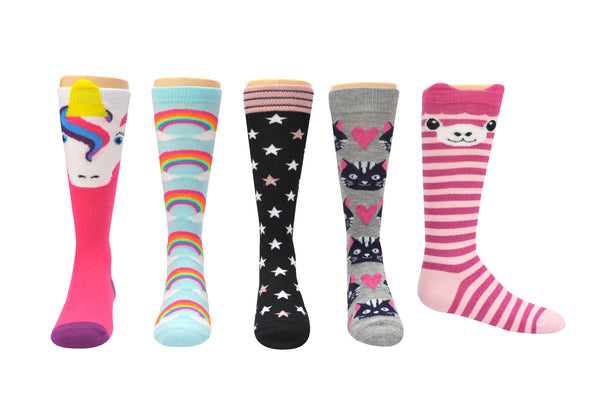 Sock House Co. Girls Unicorns & Rainbows Knee High 5 Pair Pack Socks