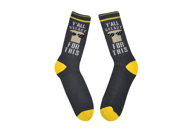 Sock House Co. Men's Y'all Bready For This Athletic Crew Sock
